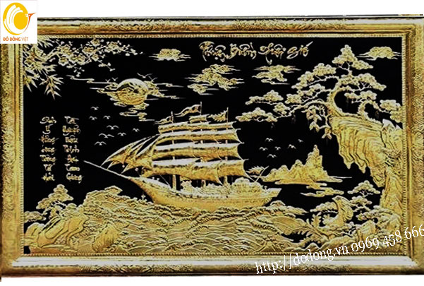 Bức tranh đồng liền tấm con thuyền mạ vàng 24k cao cấp cỡ lớn treo phòng khách