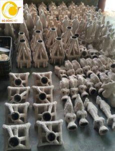 quá trình làm khuôn trống đồng để rót nước đồng